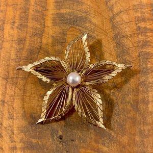 Brooks Signed Gold Tone Flower Brooch